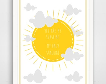 Children's Wall Art / Nursery Decor - You Are My Sunshine in Yellow by Finny and Zook