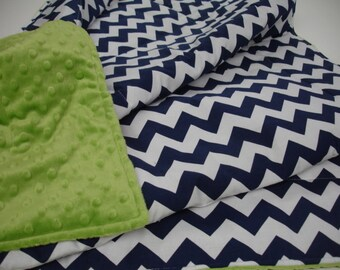 Navy Chevron Minky Comforter Blanket MADE TO ORDER You Choose Color For Backside No Batting