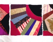 """3 Crazy Quilt Squares, Unfinished, 14"""" each, Ready for Embroidery or Embellishment"""