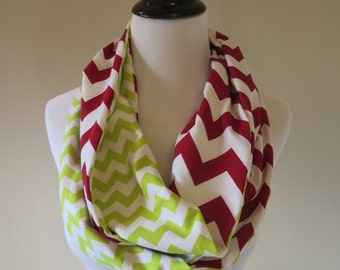 Christmas Scarf - Red and Green Scarf - Red Chevron & Green Chevron - Extra Long Chevron Infinity Scarf