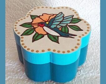 Hummingbird Jewelry box Teal, Flower shaped Jewelry Box, Keepsake Jewelry Box, Jewelry Organizer,  Trinket Box