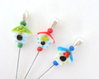 SHOP CLOSING SALE - Lampwork Beaded Decorative Stick Pins - Sweet Bird Houses - Set of 3 - Gift Under 10