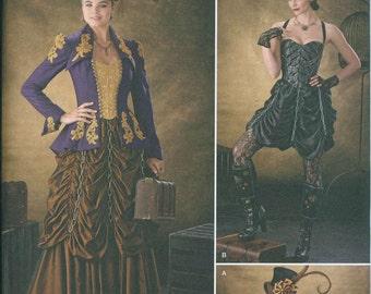 Steam Punk Gown Dress Corset Skirt Sewing Pattern Simplicity 1248 Sizes 14-16-18-20-22 Ruffled Skirt Flapper Burlesque