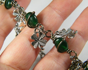 Dyed green Quartz with four leaf clover charms bracelet, St. Patrick's Day