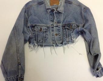 Tattered Vintage Weathered Cropped Levi denim jacket XXL