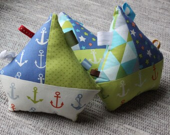 Sailboat stuffed toy, nautical, tag toy