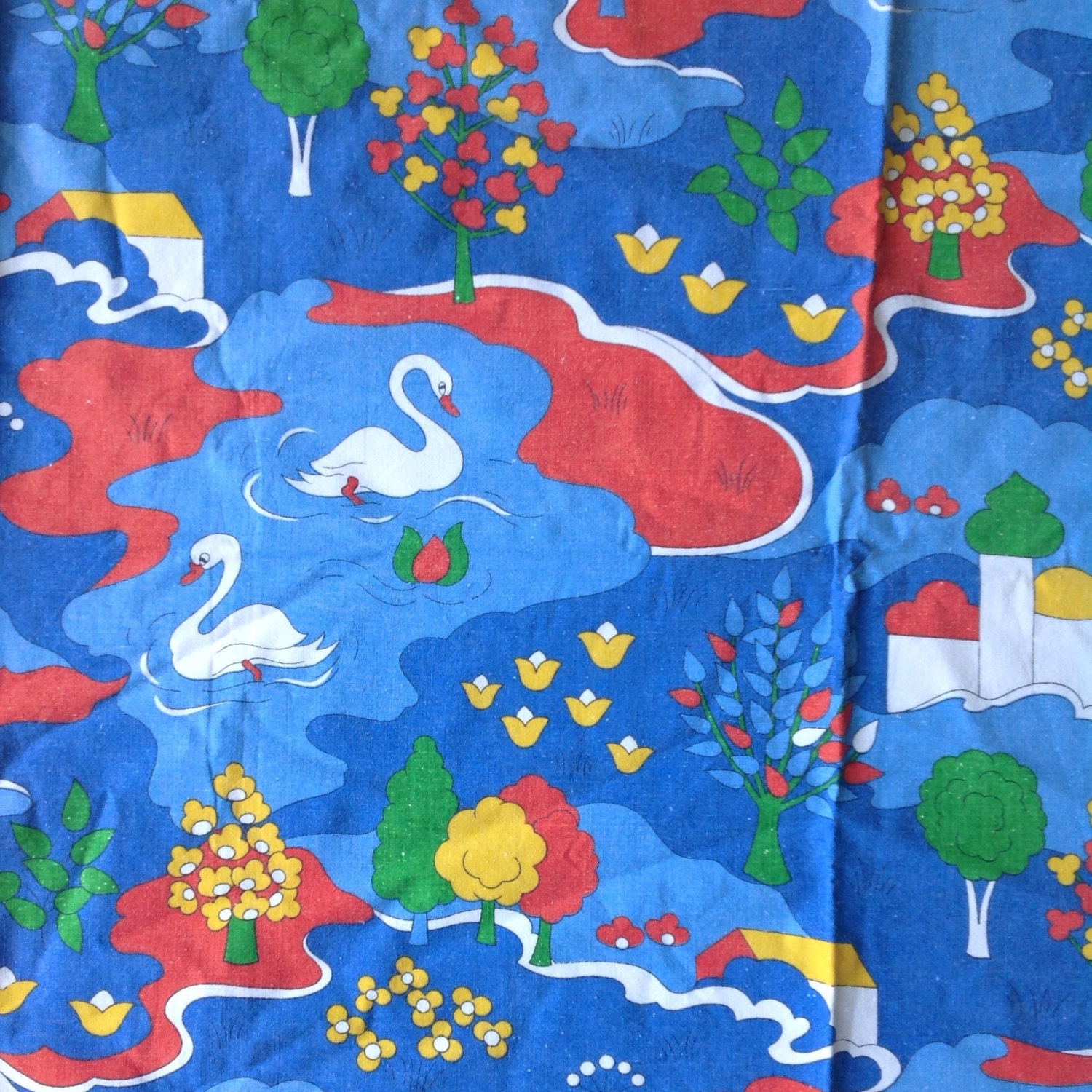 Seventies vintage childrens fabric for Vintage childrens fabric