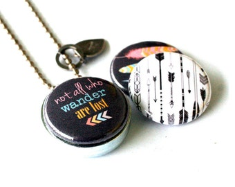Wander Jewelry, Wander Locket Necklace, Not All Who Wander Are Lost, Traveler Gift, Traveler Jewelry, Inspiration Quote, 3 Lockets in 1