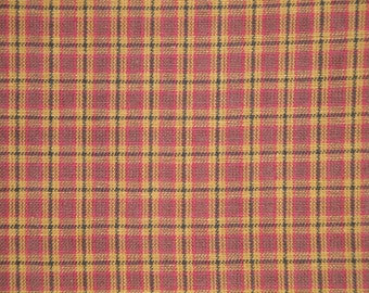 Cotton Fabric | Plaid Fabric | Homespun Fabric |  Wine, Khaki And Black Small Plaid Fabric | Fabric By The Yard