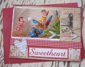 Valentine Card, Handmade Valentine, Victorian Valentine, Valentines Day, Vintage, Red, Fairy, Cupid, Angel, Love, Handmade Card, ofg team