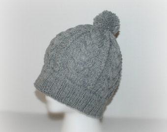 Hand Knit Hat, Knit Hat Beanie, Wool Slouchy Hat, Women Knit Hat, Light grey Hat