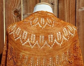 Hand Knit Lace Shawl - Pumpkin Squash Romanesque