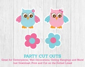 Cute Pink & Blue Owl Cut ...