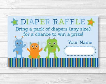 Cute Monster Baby Shower Diaper Raffle Tickets / Monster Baby Shower / Baby Shower Raffle / Baby Boy Shower / Printable INSTANT DOWNLOAD