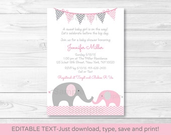 Pink Elephant Chevron Baby Shower Invitation / Pink & Grey / INSTANT DOWNLOAD Editable PDF