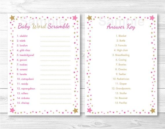 Twinkle Star Baby Word Scramble / Twinkle Star Baby Shower