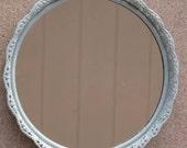 Hand Painted Vintage Robin's Egg Blue Round Dresser/Wall Mirror