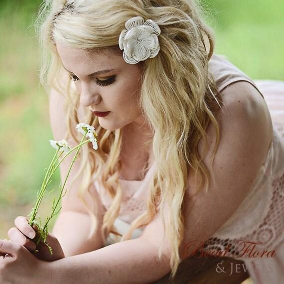 white bridal beaded hair flower clip, White Royalty French beaded hair clip