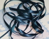 MILITARY BLUE DouBLe FaCeD SaTiN RiBBoN, Polyester 1/4 inch wide, 5 Yards