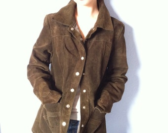Vintage Suede Blazer Jacket - Womens Chocolate Brown - 1960s Western Style - Best Quality