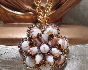 Vintage Delizza & Elster Bronze Fluss Necklace/Brooch Set