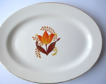 Vintage BakeRite Modern Tulip Oval Serving Platter - Cottage Chic