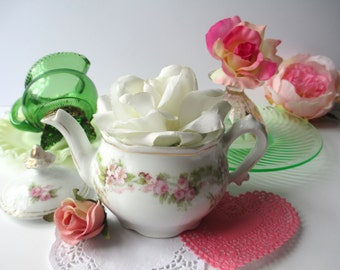 Vintage Tea Collection Pink and Green Tea Party Collection of Five Fenton Depression Glass Teapot