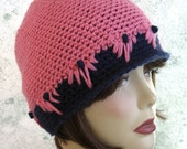 Crochet Hat Pattern Womens And Teen Cloche Style With Flower Trim Instant Download May Resell Finished
