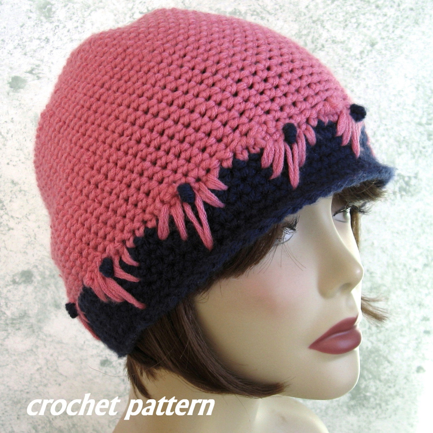 Crochet Hat Pattern Womens And Teen Cloche Style With Flower