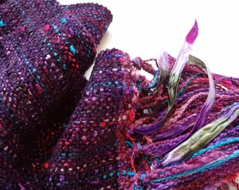 handwoven scarf in a beautiful blackberry