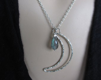 Labradorite Moon Necklace, Sterling Silver, Crescent Moon, Labradorite Necklace, Silver Necklace, Celestial, Irisjewelrydesign