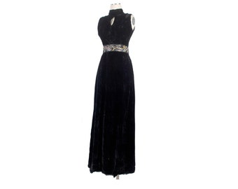 Vintage 70s Dress - 70s Maxi Dress - 70s Evening Gown - Black Velvet Dress - 70s Party Dress - Keyhole  Dress - 70s Gown - Black Dress - S