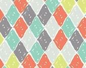 1 yard  - Homestead by Nicky Ovitt - Gray Orange Aqua Lime Argyle - Y1618-5