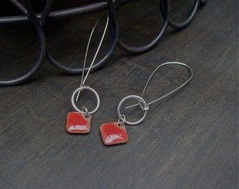 Elaine Ray red ceramic beads on long kidney wire earrings