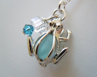 Sea Glass Frog Locket Beach Glass Necklace -Eco Friendly Necklace Sea Glass Jewelry Frog Necklace
