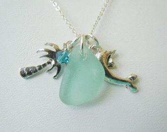 Aquamarine Sea Glass Dolphin Palm Tree Necklace Beach Glass Necklace  Beach Glass Jewelry Pendant Necklace