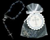 30 Mini Rosary Favors - Baby Boy Baptism Favors - Christening Favors - Communion Favors - First Communion Favors - Rosary Favors - Blue