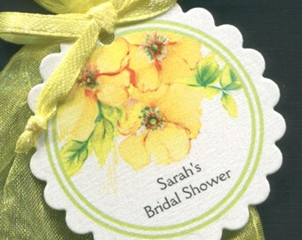 Personalized Bridal Shower Favor Tags - Bridal Shower Tags - Gift Tags - Wedding Tags - Floral Tags - Yellow Flowers - Personalized Tag - 50