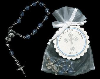 25 Mini Rosary Favors - Baby Boy Baptism Favors - Christening Favors - Communion Favors - First Communion Favors - Rosary Favors - Blue