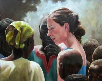 Oil Painting, Portrait,  Africa, Original, Fine Art, Large... 24 x 36, plus mahogany frame