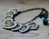 Colorful Art Deco Heart Statement Necklace, Gold, Red, Aqua Heart Necklace, Heart Charm Necklace, Bib Necklace, Heart Necklace For Her Teens