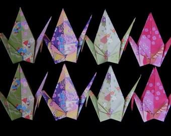 """8 Large Origami Cranes - 4 designs, 6"""" (15 cm) Japanese Chiyogami Paper, Origami Paper Cranes, Chiyogami Cranes, Handmade, Crane Bird"""