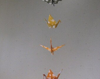 """7 Dangling Mobile - Tradition, folded from 6"""" (15cm) Chiyogami, Crane Mobile, Traditional Colors,  Japanese Ancient Patterns, Home Decor"""