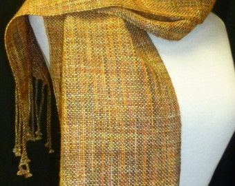 Handwoven Wool Blend Gold Variegated Scarf
