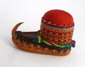 "Balkan Folk Dance Shoe Pincushion, Leather Opanci shoes, Souvenir from the Balkans, 3 1/2"" length, folk art, home decor, ethnic decor"