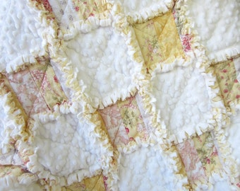 Baby Girl Quilt | Floral Roses | Yellow White | Minky Baby