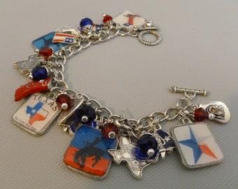 Texas Lone Star State Altered Art Charm Bracelet