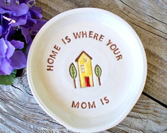 Spoon Rest for Mom, Home is Where Your Mom Is, Kitchen Decor, Ceramic Spoon Rest, Tea Bag Holder, Gift for Mom