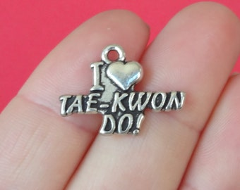 """4 """"I Love TAE-KWON DO!"""" Charms 17x23mm Item:AG19"""