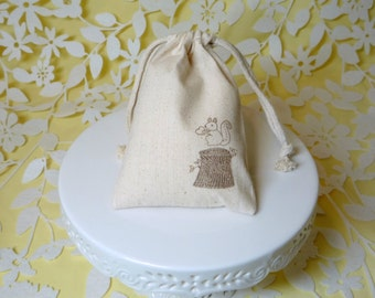 squirrel on a stump bag muslin wedding favor handstamped
